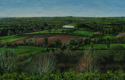 New Grange, view from Dowth. Brú na Boinne, County Meath,