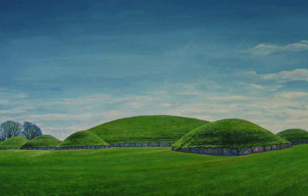 Knowth, view from NW. Brú na Boinne. County Meath.